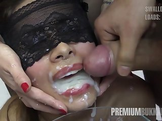 A group of men cums on Victoria's face in cum drinking bukkake orgy