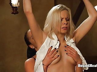 Horny Lesbian Madame Takes Big Strapon From Behind By Slave