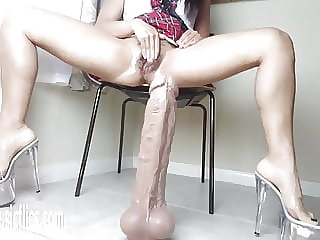 Latinas Giant Dildo Wrecks Her Hole
