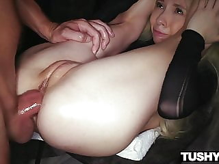 TUSHYRAW, Tiny & tight Blonde gets her asshole stretched out